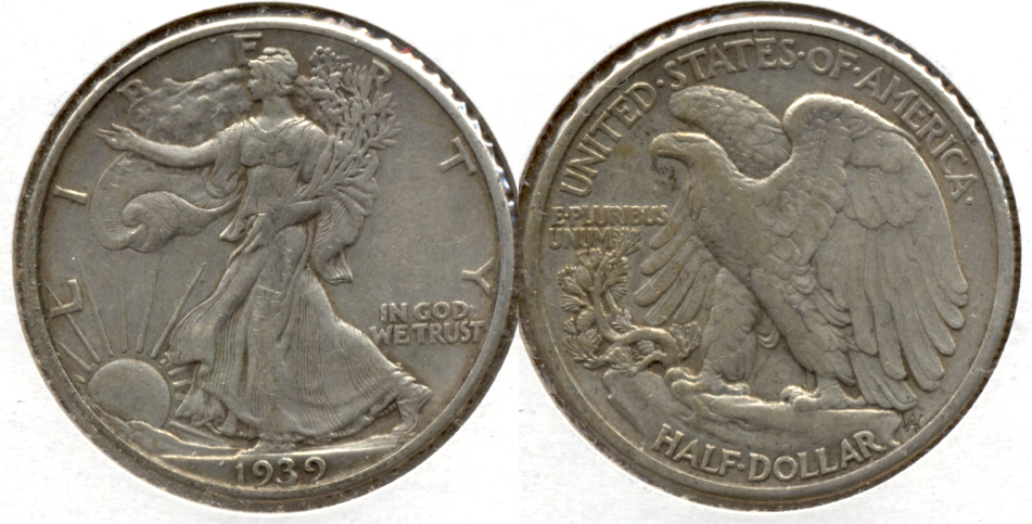 1939 Walking Liberty Half Dollar VF-20 k
