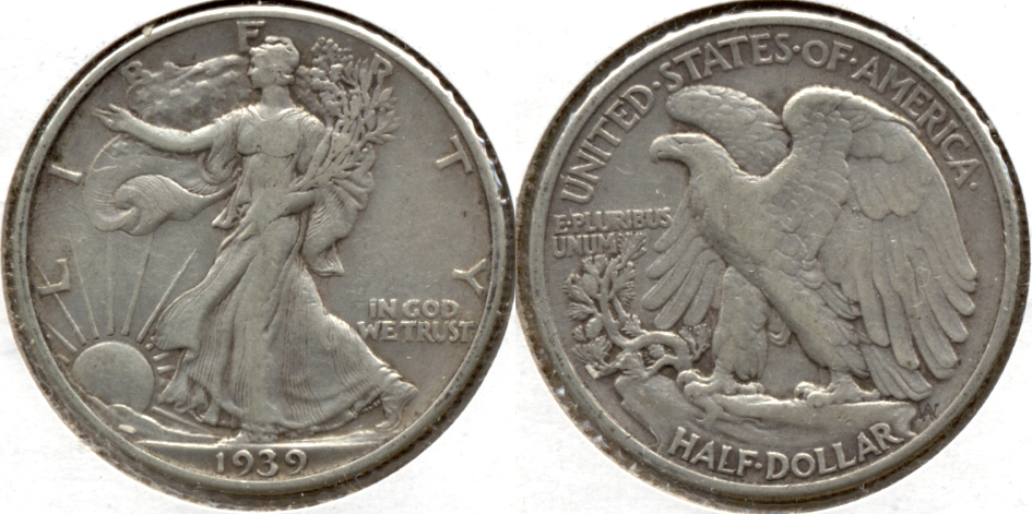 1939 Walking Liberty Half Dollar VF-20 r