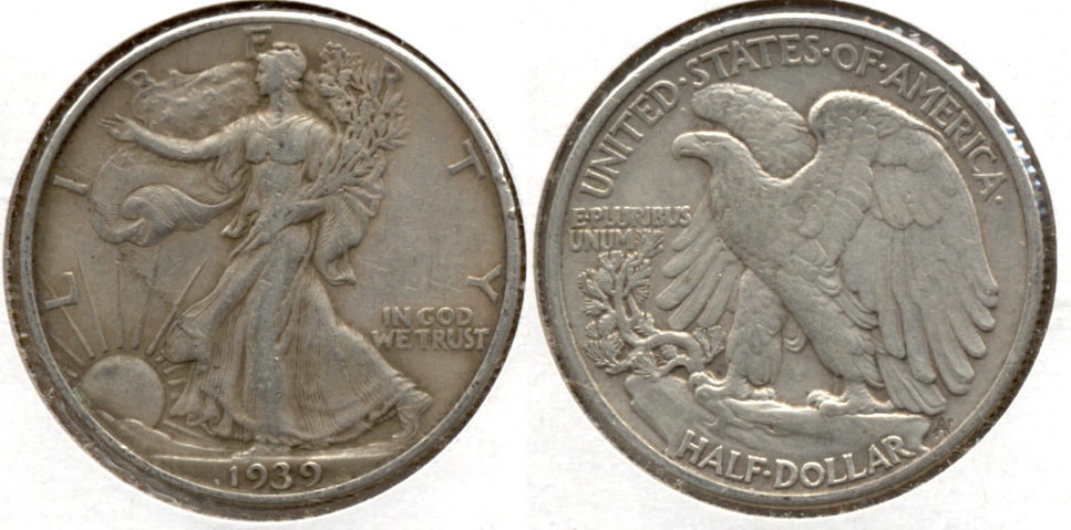1939 Walking Liberty Half Dollar VF-20 w