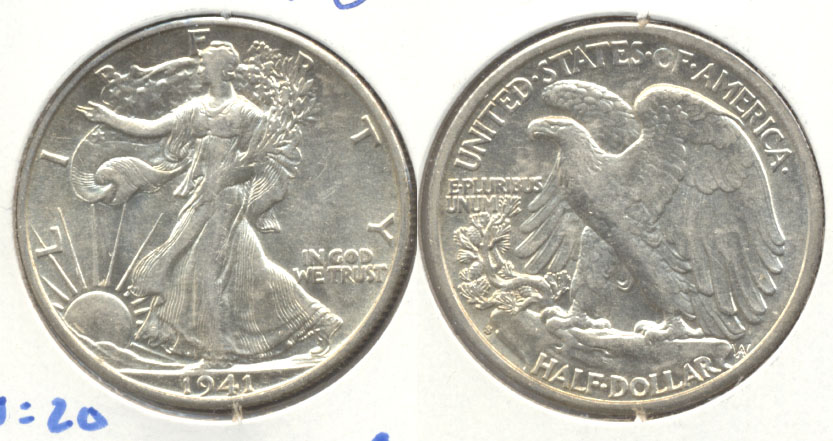 1941-S Walking Liberty Half Dollar AU-50