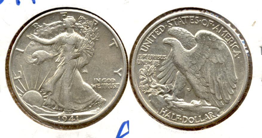 1941 Walking Liberty Half Dollar AU-50 l Rim Tick