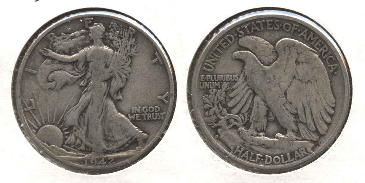 1942-D Walking Liberty Half Dollar Fine-12 #a