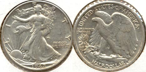 1942-S Walking Liberty Half Dollar AU-50