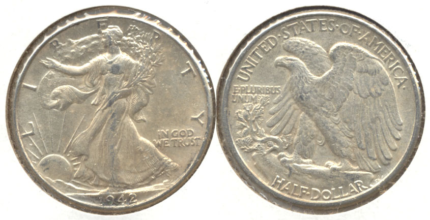 1942 Walking Liberty Half Dollar AU-50 a