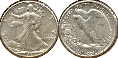 1942 Walking Liberty Half Dollar AU-50 d