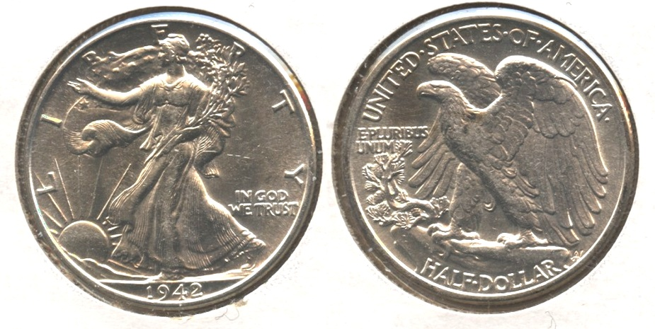 1942 Walking Liberty Half Dollar AU-55 k Two Spots