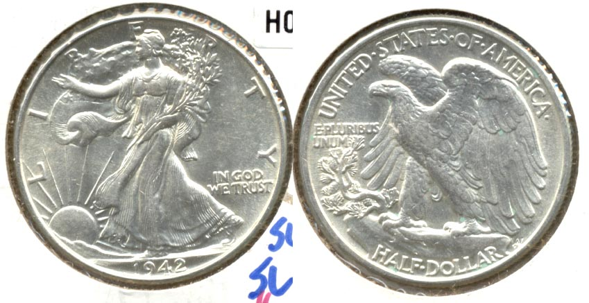 1942 Walking Liberty Half Dollar AU-58 e
