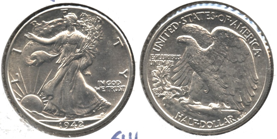 1942 Walking Liberty Half Dollar AU-58 #l