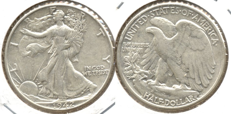 1942 Walking Liberty Half Dollar EF-40 b