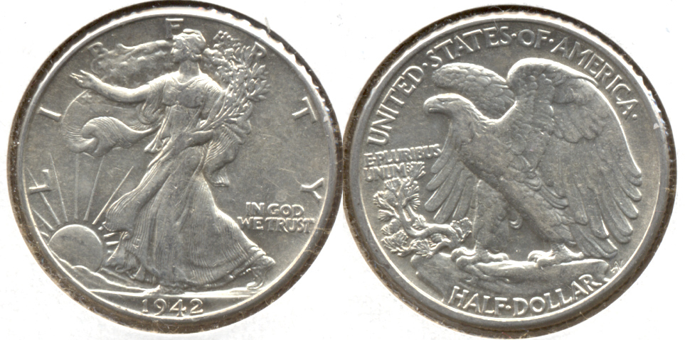 1942 Walking Liberty Half Dollar EF-45 d