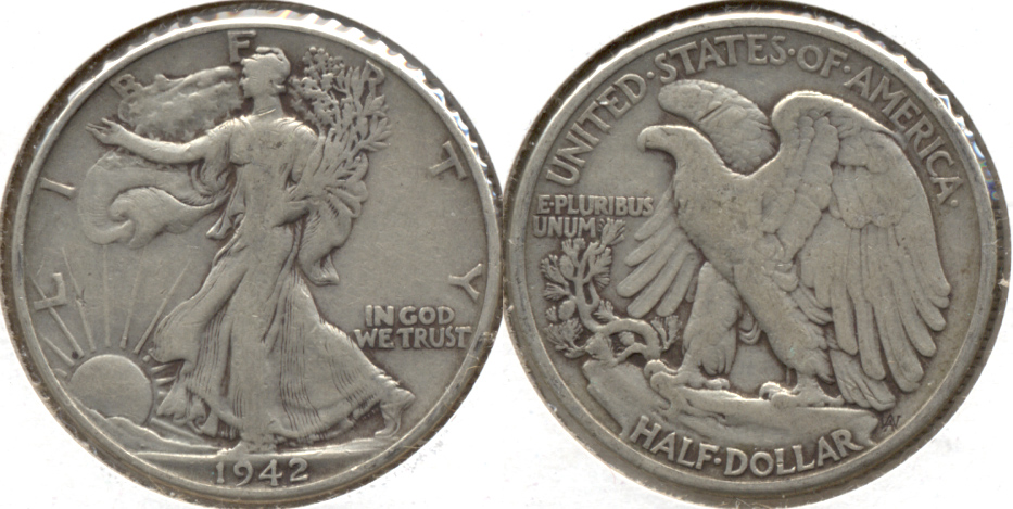 1942 Walking Liberty Half Dollar VG-8 d
