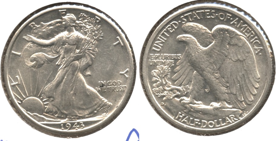 1943-D Walking Liberty Half Dollar AU-53 #a
