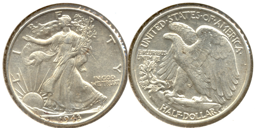 1943 Walking Liberty Half Dollar AU-50 e