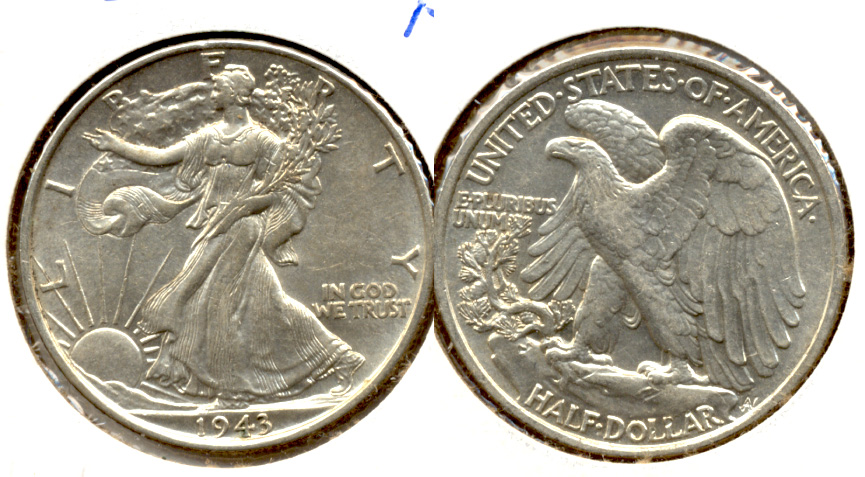 1943 Walking Liberty Half Dollar AU-50 u