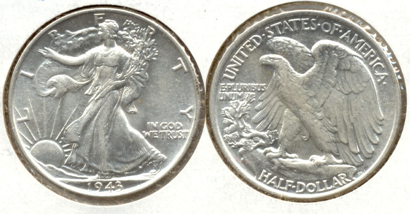 1943 Walking Liberty Half Dollar AU-55 a