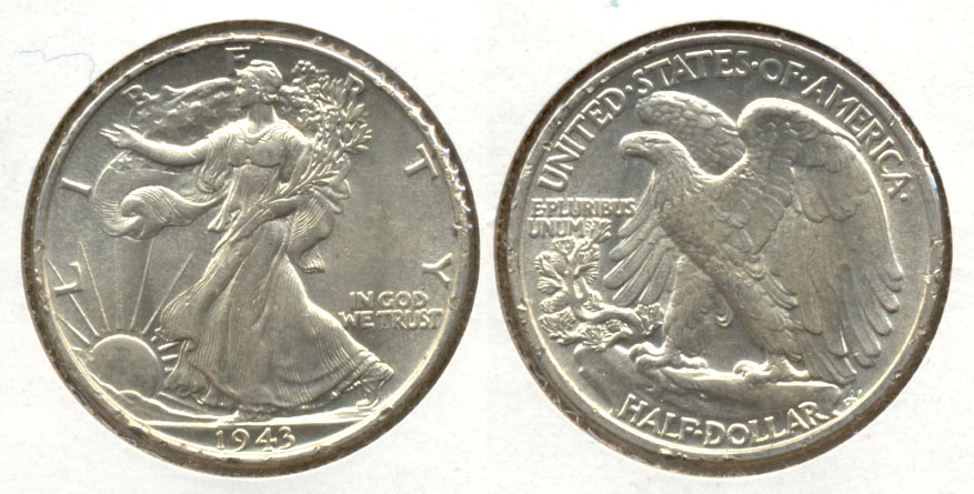 1943 Walking Liberty Half Dollar AU-55 i Rim Dings