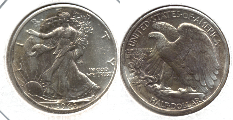 1943 Walking Liberty Half Dollar AU-55 w