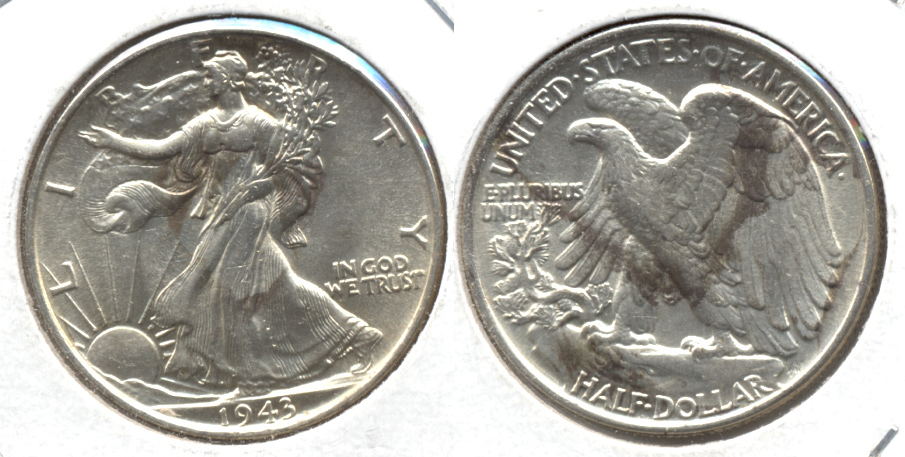 1943 Walking Liberty Half Dollar AU-58 e