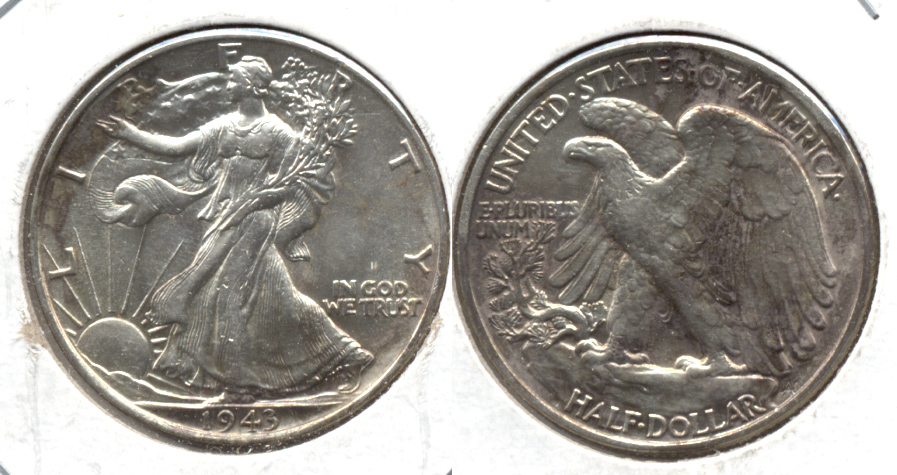 1943 Walking Liberty Half Dollar AU-58 f