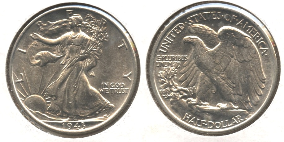 1943 Walking Liberty Half Dollar AU-58 h