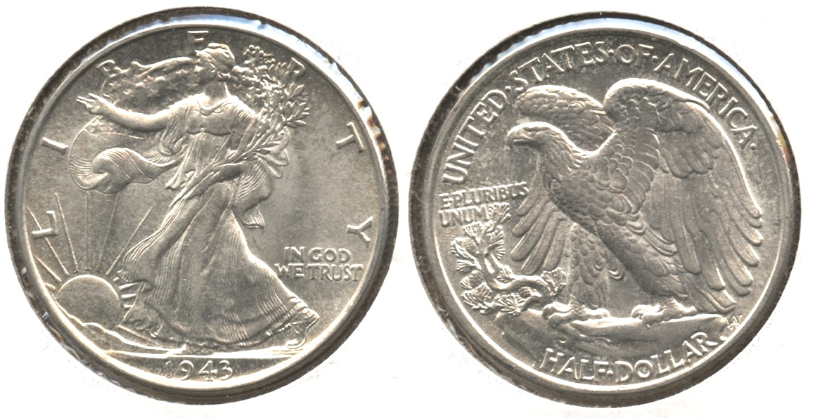 1943 Walking Liberty Half Dollar AU-58 #k