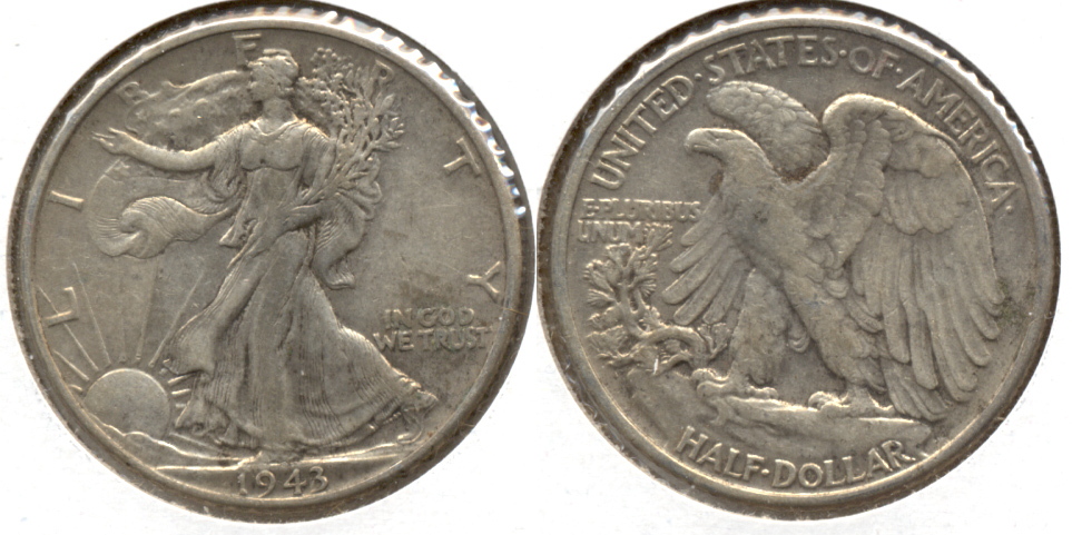 1943 Walking Liberty Half Dollar EF-40 d