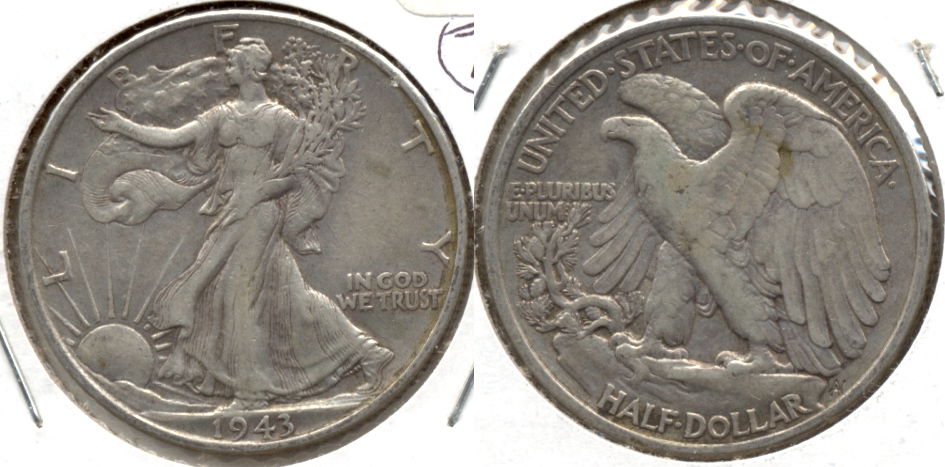 1943 Walking Liberty Half Dollar EF-40 f