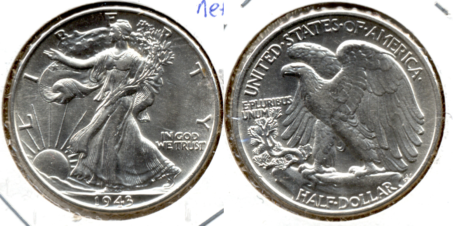 1943 Walking Liberty Half Dollar MS-60 f Obverse Scratches