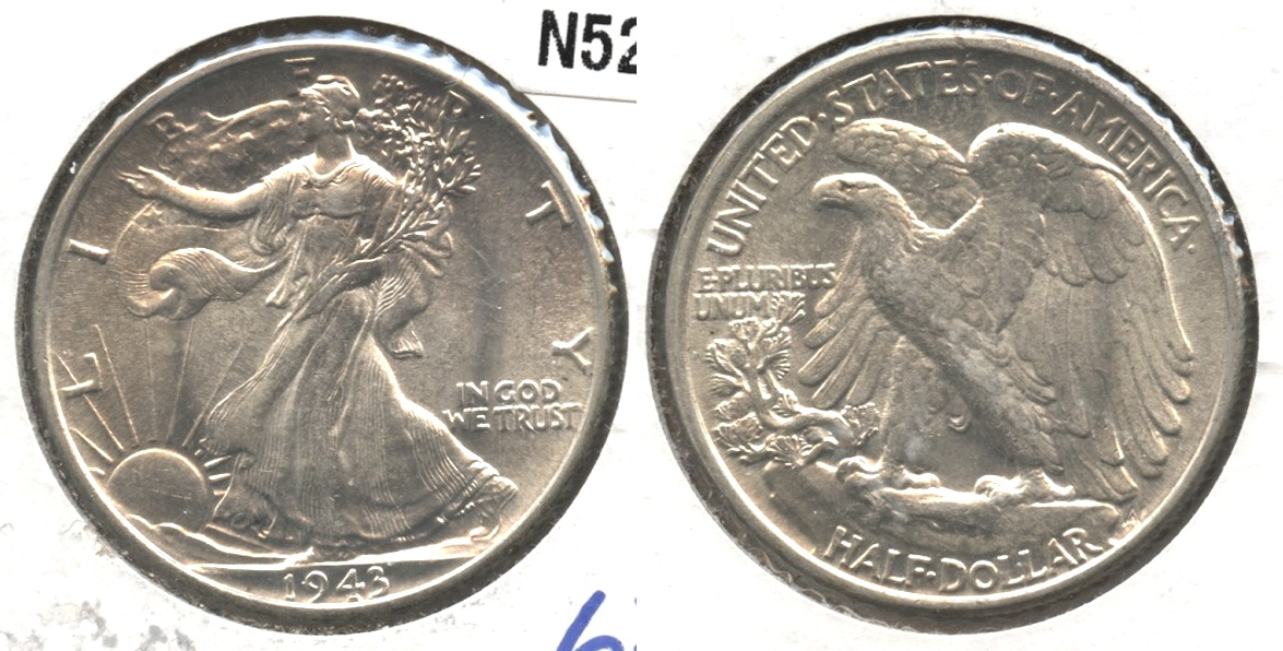 1943 Walking Liberty Half Dollar MS-62 #a
