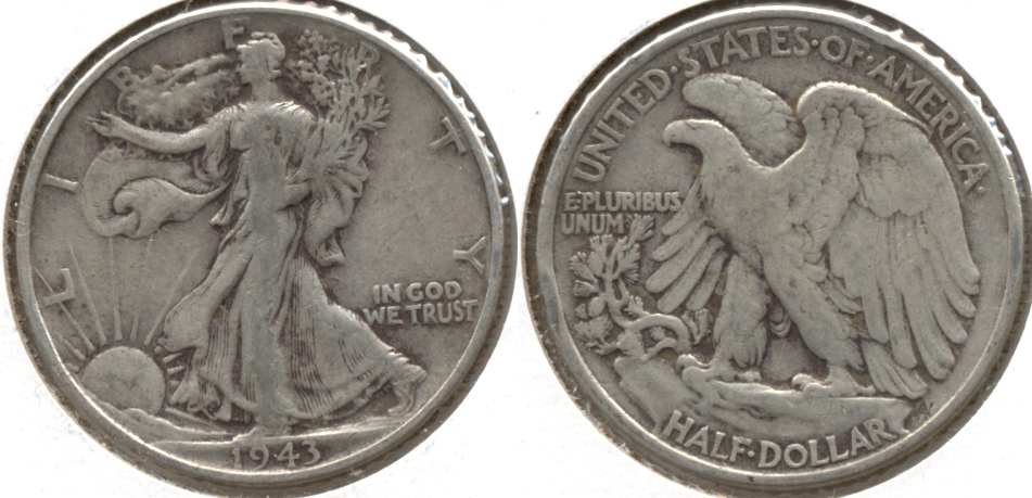 1943 Walking Liberty Half Dollar VG-8 a