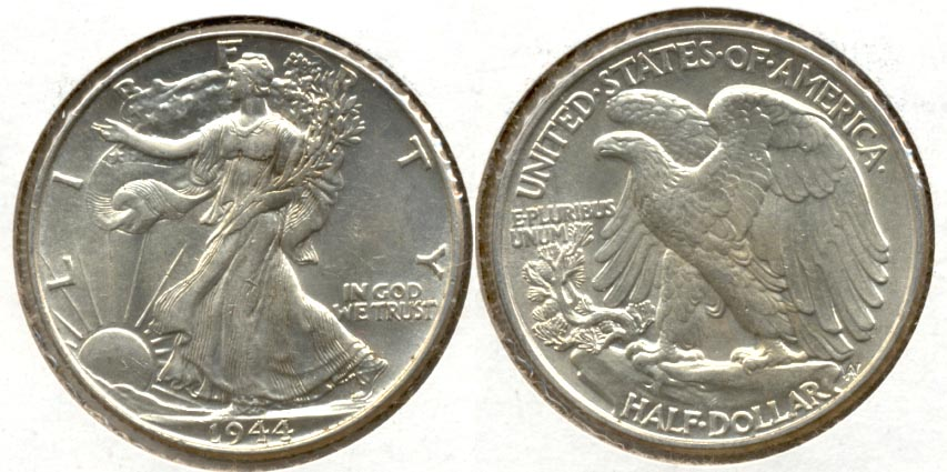1944 Walking Liberty Half Dollar AU-55 e