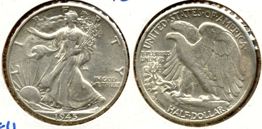 1945-D Walking Liberty Half Dollar AU-50 m