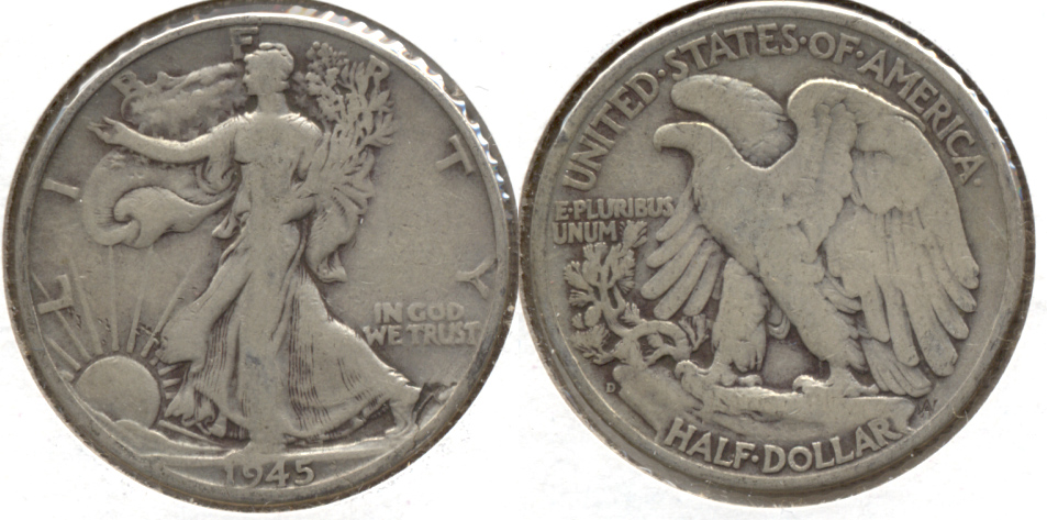 1945-D Walking Liberty Half Dollar VG-8 a