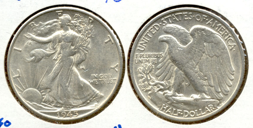1945-S Walking Liberty Half Dollar AU-50 b