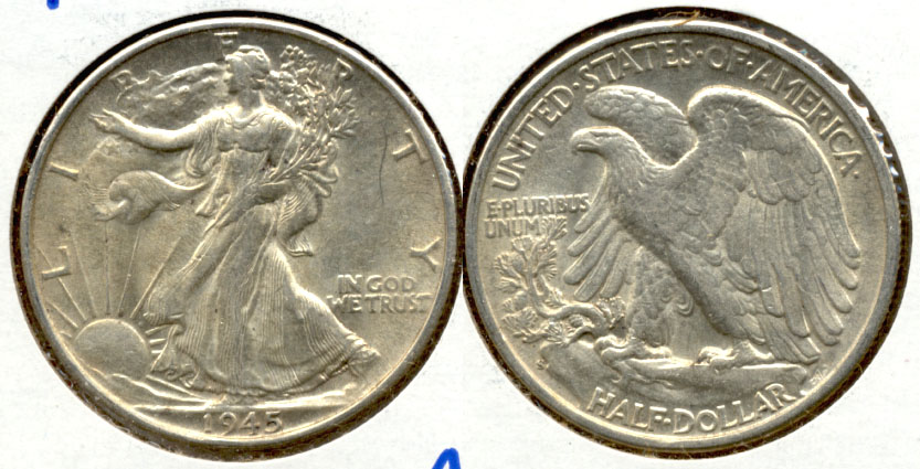1945-S Walking Liberty Half Dollar AU-50 d