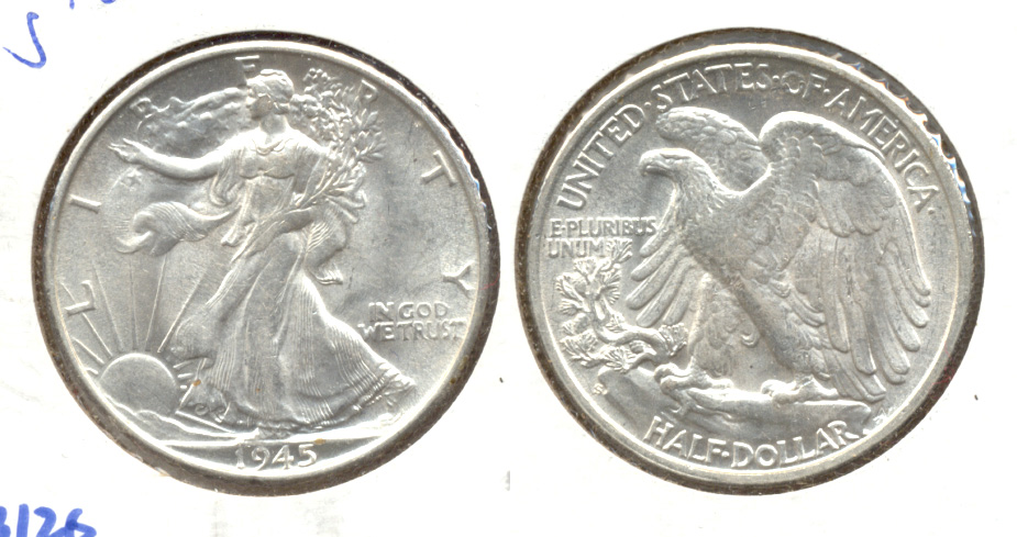 1945-S Walking Liberty Half Dollar AU-58