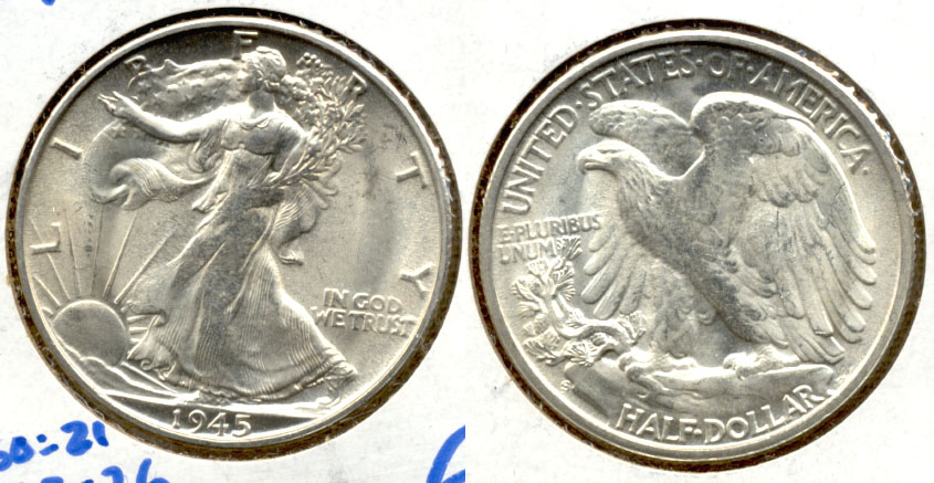 1945-S Walking Liberty Half Dollar MS-63
