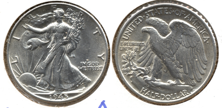 1945 Walking Liberty Half Dollar AU-53 a