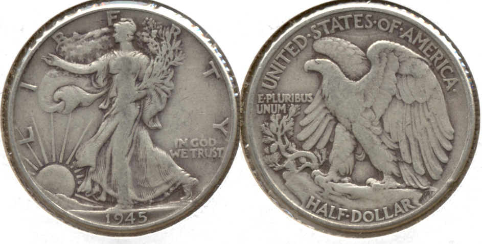 1945 Walking Liberty Half Dollar Fine-15 a