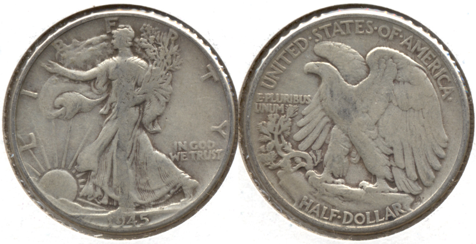 1945 Walking Liberty Half Dollar VG-10
