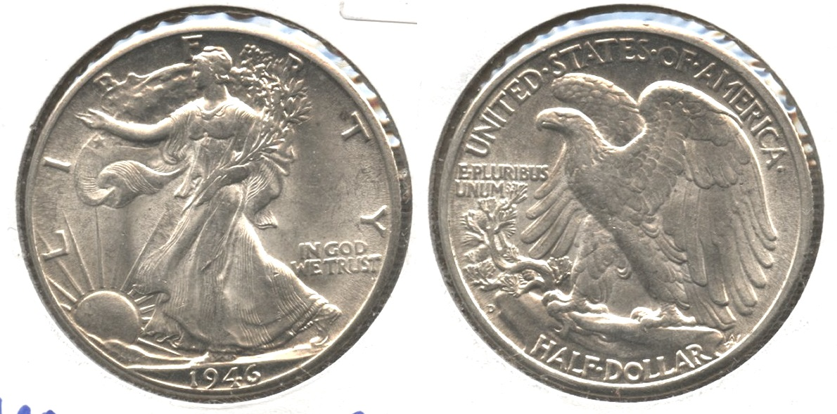 1946-D Walking Liberty Half Dollar AU-58 #a