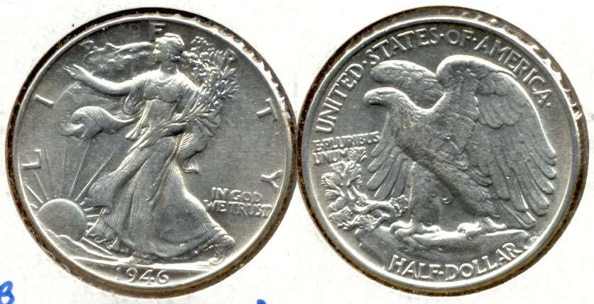 1946 Walking Liberty Half Dollar AU-50 b