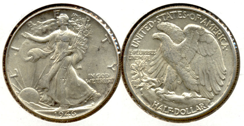 1946 Walking Liberty Half Dollar AU-55 e