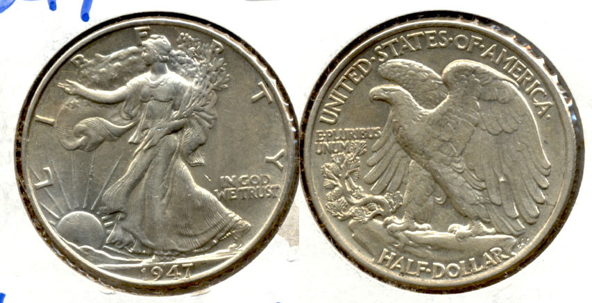 1947 Walking Liberty Half Dollar AU-50 b