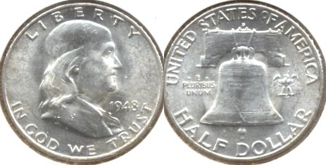 1948-D Franklin Half Dollar MS-60 i