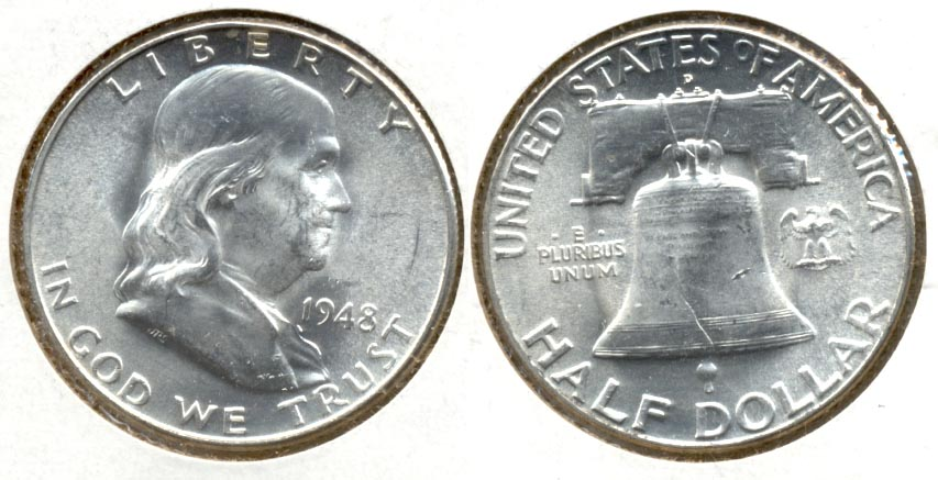 1948-D Franklin Half Dollar MS-60 k