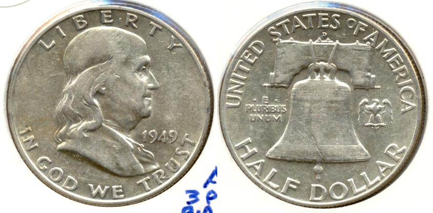 1949-D Franklin Half Dollar AU-50 d