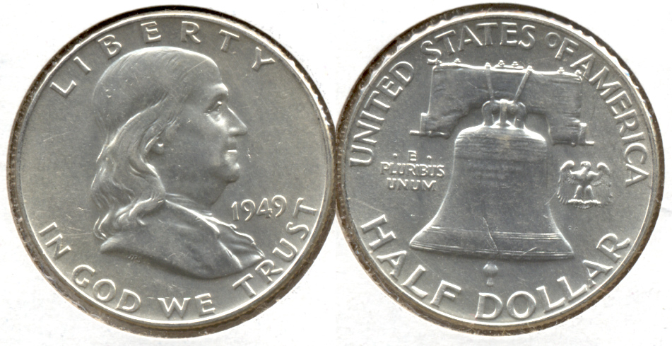 1949 Franklin Half Dollar AU-50 at