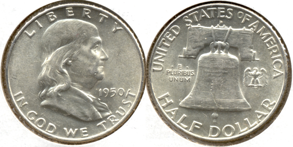 1950-D Franklin Half Dollar AU-50 f