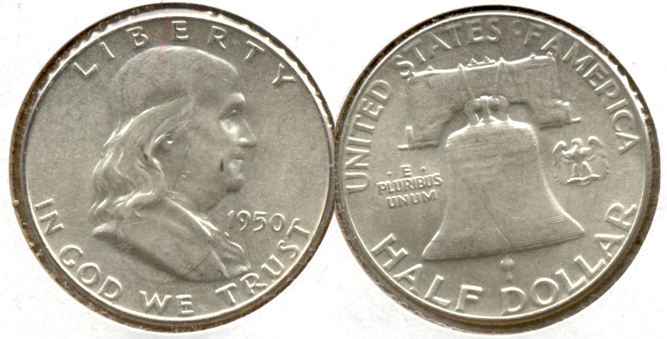 1950 Franklin Half Dollar AU-55 y
